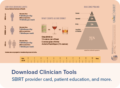 Download Clinician Tools - SBIRT provider card, patient education, and more.